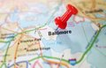 Baltimore tack maryland map with red Royalty Free Stock Photos