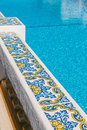 Balustrade in a swimming pool mediterranean Stock Images