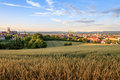 Bamberg summer city view cityscape on the old churches of the old german medieval of on a sunset in Stock Photography