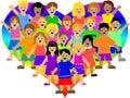 Bambini del cuore del Rainbow Fotografia Stock Libera da Diritti