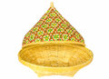 Bamboo basket with open lid isolated on white background Royalty Free Stock Photos