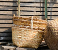 Bamboo baskets at market in Yangon, Myanmar Royalty Free Stock Photo