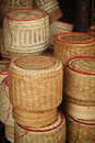 Bamboo basketwork sticky rice container Stock Photos
