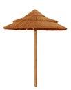 Bamboo beach umbrella isolated Royalty Free Stock Photo