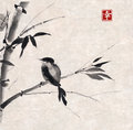 Bamboo and bird. Hand-drawn with ink. Royalty Free Stock Photo