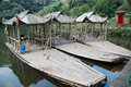 Bamboo boats Royalty Free Stock Photography
