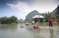 Bamboo boats on the li river china yangshuo Stock Photo