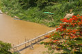 Bamboo bridge across khan river in luang prabang the world heritage town Royalty Free Stock Photos