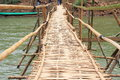 Bamboo bridge in mea kong river Stock Image