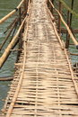 Bamboo bridge in mea kong river Stock Photos