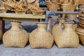 Bamboo creel in a market Royalty Free Stock Photos