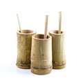 Bamboo cup with bamboo spoon for outdoor life or camping on white background Royalty Free Stock Image