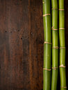 Bamboo On Wood Background