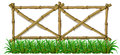 A bamboo fence with grass illustration of on white background Royalty Free Stock Photos