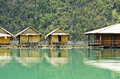 Bamboo floating resort small bungalow made ​​of surrounded by mountains and water in ratchaprapha dam khao sok national park Stock Photos