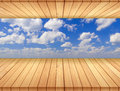 Bamboo floor background wood and sky Stock Image