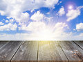 Bamboo floor background wood and sunny sky Royalty Free Stock Photos