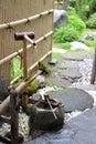 Bamboo fountain in hokkaido japan zen garden Royalty Free Stock Photography