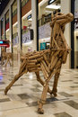 Bamboo horse structure on display in shopping mall this promotes environmental awareness to reuse recyclable materials Royalty Free Stock Photos