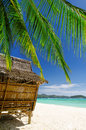 Bamboo hut on a tropical beach Royalty Free Stock Photography
