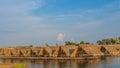 Bamboo huts at moon river thailand Royalty Free Stock Photography