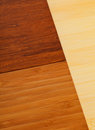 Bamboo laminate flooring samples different light and dark colored Stock Photography
