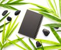 Bamboo leaf and black paper background. Black paper notebook mockup. Spa beauty banner template with text place. Royalty Free Stock Photo