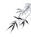 Bamboo leaf traditional chinese calligraphy art isolated on white background Royalty Free Stock Image
