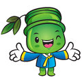 Bamboo mascot the direction of pointing with both hands nature character design series Royalty Free Stock Photos