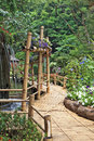 Bamboo path around the fountain gorgeous huge park on island madeira Stock Photos