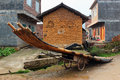 Bamboo raft on a cart in a village near Yangshuo town, China Royalty Free Stock Photo