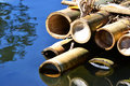 Bamboo raft closeup over water Stock Photo