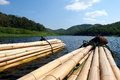 Bamboo raft in dam in thailand Stock Images