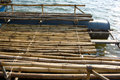 Bamboo raft with a frame of steel and plastic for the floor safely Royalty Free Stock Photography