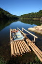 Bamboo raft in lake. Stock Photos