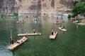 Bamboo raft at the river Royalty Free Stock Photo
