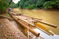 Bamboo raft on the river in Khao Sok National Park Royalty Free Stock Image