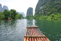 Bamboo rafting the scenery of yulong river in yangsuo guangxi china Royalty Free Stock Image