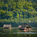 Bamboo rafts huai krathing loei thailand traveler rest and picnic on it floating on the lake at in http www bangkokpost com travel Royalty Free Stock Photography