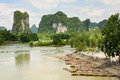 Bamboo rafts in idyllic li river scenery yangshuo china Stock Photos