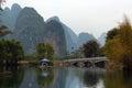 Bamboo rafts on Yulong river near Yangshuo town, China Royalty Free Stock Photo