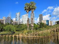 Bamboo sculpture in park with sydney skyline scenery of at the royal botanic garden the mengenang sound wind installation from the Royalty Free Stock Photo