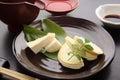 Bamboo Shoot Sashimi with Soy Sauce and Sake,  Japanese Food Royalty Free Stock Photo