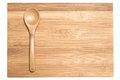 Bamboo spoon on the cutting board and white background emply space Royalty Free Stock Photography