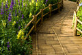 Bamboo surface on walkway Stock Images