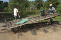 Bamboo train battambang cambodia workers riding the in station the goes from to poipet Stock Images
