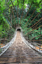 Bamboo tunnel bridge at tad pha suam waterfall pakse champasak laos Stock Images