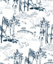 Bamboo vector japanese pattern brige mountains seamless pattern