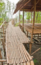 Bamboo walkway with shelter in Mangrove forest Royalty Free Stock Photo