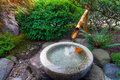 Bamboo Water Fountain in Japanese Garden Royalty Free Stock Photo